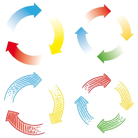 cooperate: circular arrows