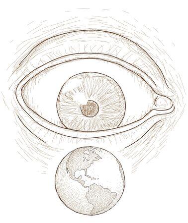 eye sees the world Stock Vector - 13848566