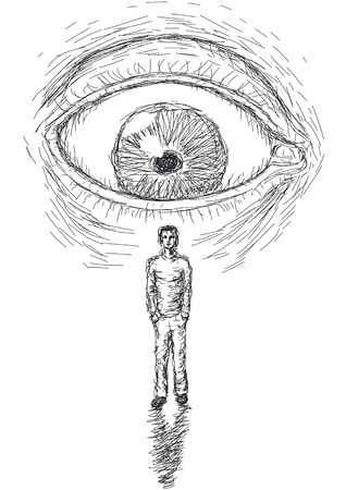 psychedelia: eye that looks at a man