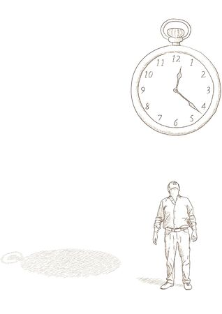 Man and clock Stock Vector - 13848557