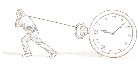 Man and clock Stock Vector - 13848554