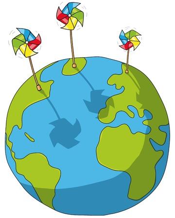 world and wind turbines