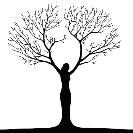 女性の木  イラスト・ベクター素材