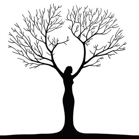 albero secco: donna albero