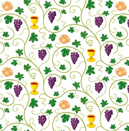 pane e vino: modello con simboli cristiani Vettoriali
