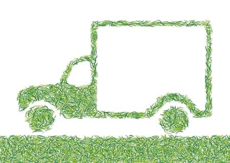 motor truck: van grass