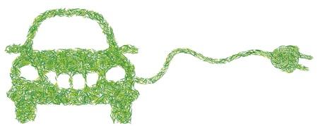 greening nature natural: electric car Illustration