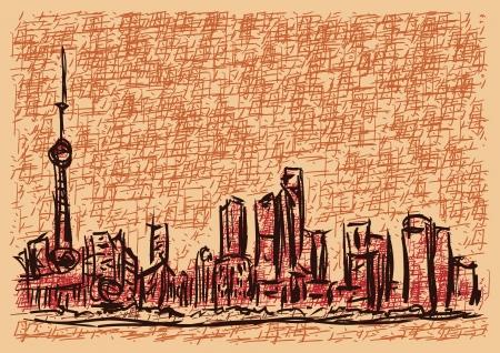 asia business: shanghai sketch Illustration