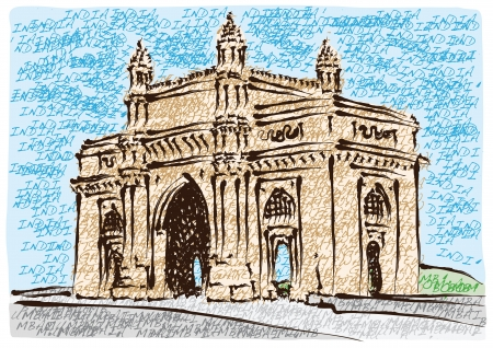 Mumbai Gateway of India Stock Vector - 17561982