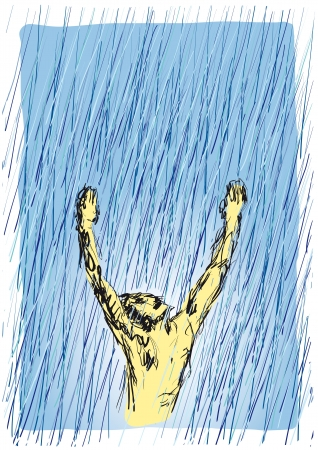 praise and worship: man hands to the sky Illustration