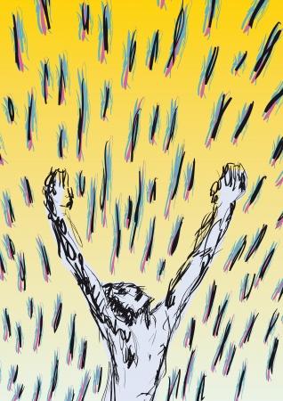 adoration: man hands to the sky Illustration