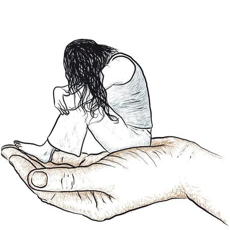 alone and sad: mano de apoyo a la mujer