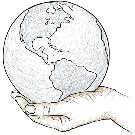 environmental issue: hand holding the world