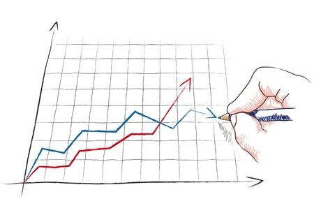 administracion de empresas: mano dibuja un gráfico