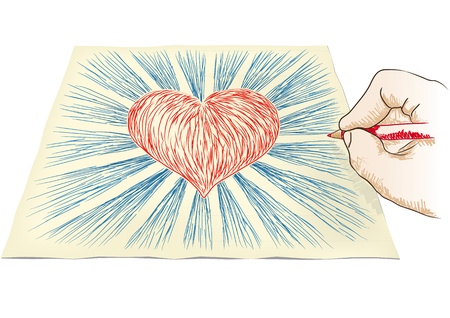 sacred heart: hand draws heart Illustration