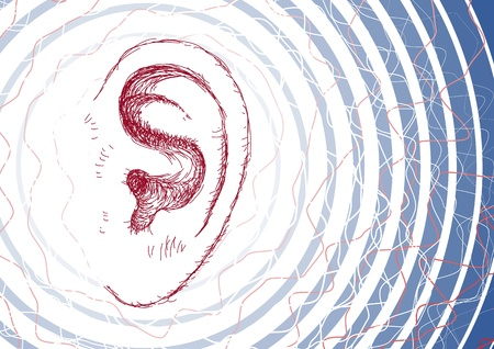listening ear: Ear and sound waves Illustration