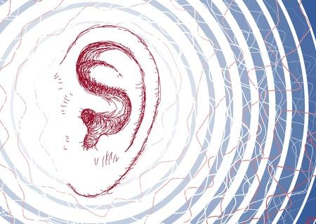 listen ear: Ear and sound waves Illustration