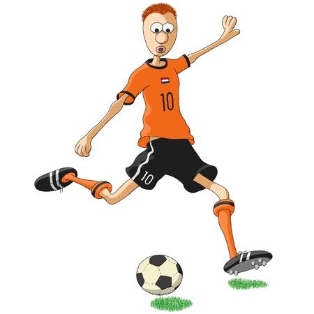 jugador de futbol soccer: Jugador de f�tbol de Holanda Vectores