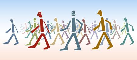 psychedelia: people walking Illustration
