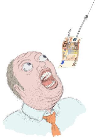 greedy: greedy man Illustration