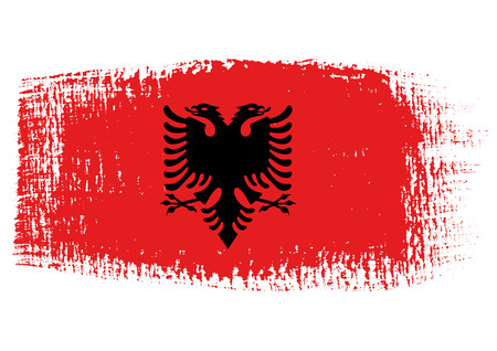 albanie: coup de pinceau de drapeau de l'Albanie Illustration
