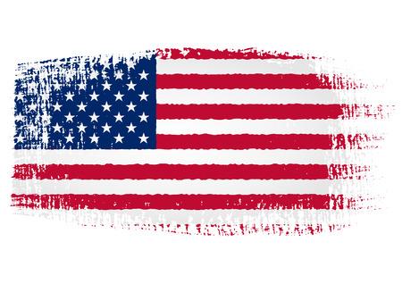 미국 국기의 붓 자국 일러스트