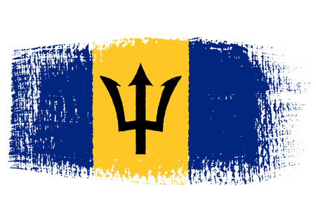 barbados: brushstroke of Barbados flag Illustration