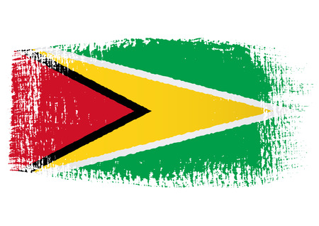 guyana: brushstroke flag Guyana Illustration