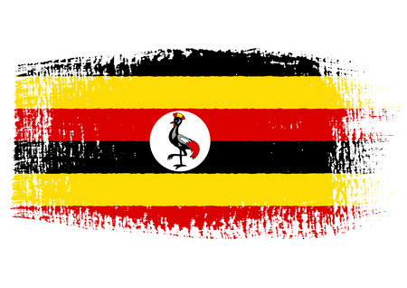 fondo transparente: Pincelada Bandera de Uganda con el fondo transparente Vectores