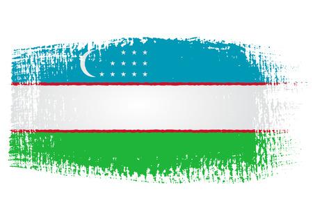 fondo transparente: Pincelada Bandera de Uzbekist�n con el fondo transparente
