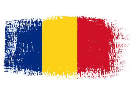 背景が透明なブラシ ストローク旗ルーマニア