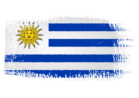 brushstroke flag Uruguay with transparent background Vector