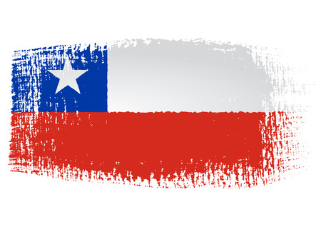 bandera de chile: bandera pincelada Chile Vectores