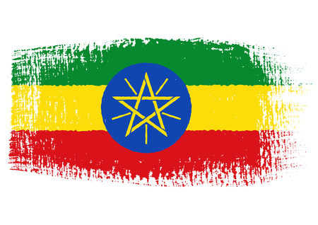 ethiopia flag: brushstroke flag Ethiopia Illustration