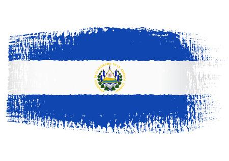 bandera de el salvador: Pincelada Bandera Salvador Vectores