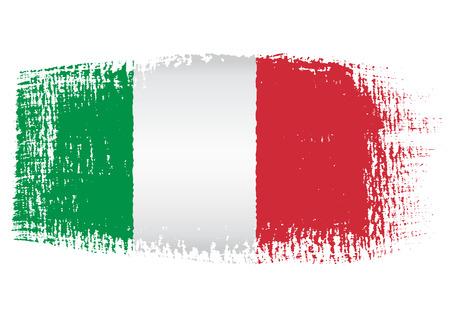 붓 자국의 국기 이탈리아 일러스트