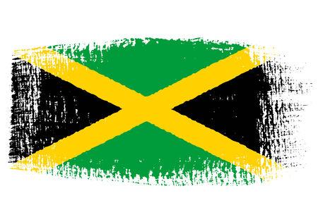 jamaican flag: brushstroke flag Jamaica Illustration