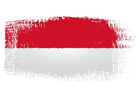 brushstroke flag Indonesia Vector