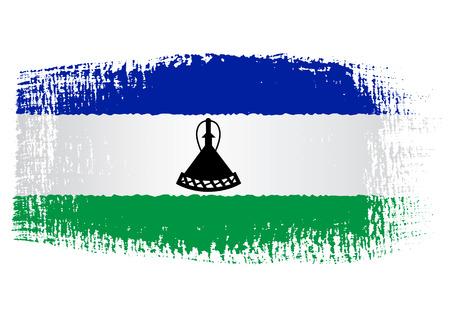 lesotho: brushstroke flag Lesotho