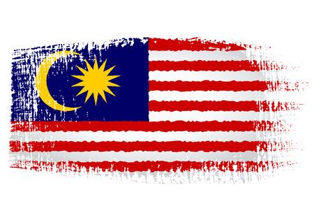streaked: brushstroke flag Malaysia Illustration