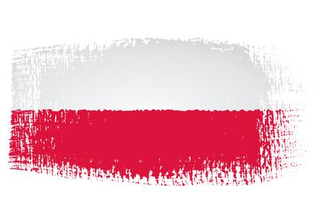 붓 자국의 국기 폴란드 일러스트