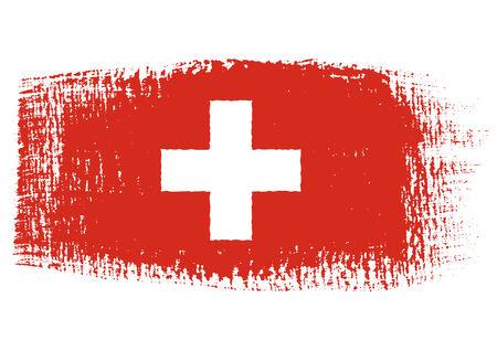 streaked: brushstroke flag Switzerland Illustration
