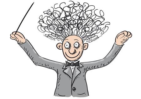 Conductor orchestra illustration  Vettoriali