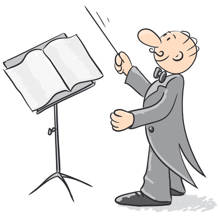 orchestra: Conductor orchestra illustration  Illustration