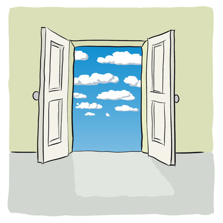 open gate: open door Illustration