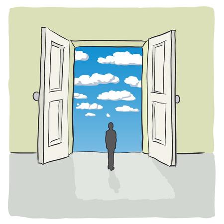 open gate: open door Illustration