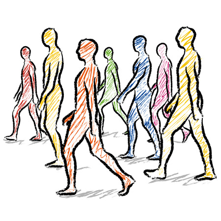 dynamic activity: people walking Illustration