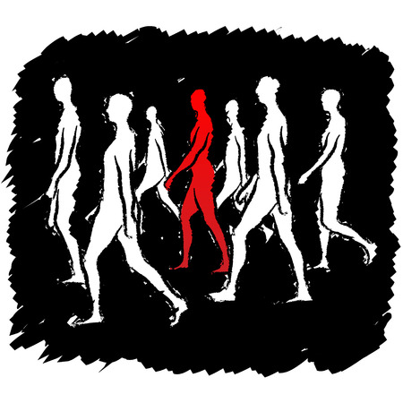proceed: people walking Illustration