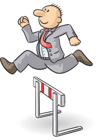 overcome: person jumps an obstacle