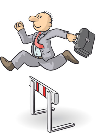 quickness: person jumps an obstacle